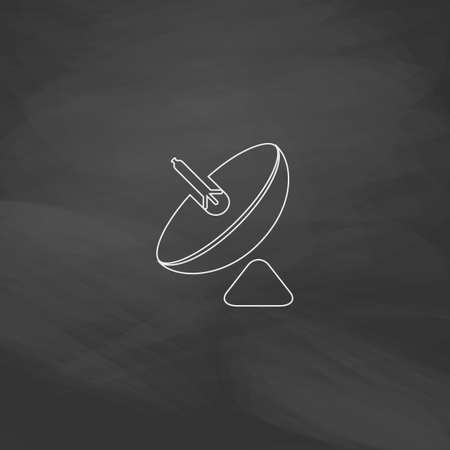 satellite transmitter: radar Simple line vector button. Imitation draw with white chalk on blackboard. Flat Pictogram and School board background. Outine illustration icon
