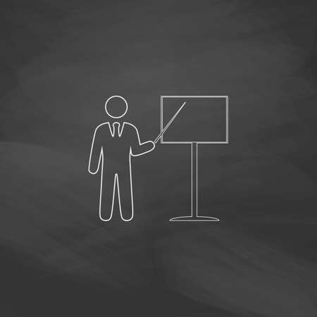 Training Simple line vector button. Imitation draw with white chalk on blackboard. Flat Pictogram and School board background. Outine illustration icon