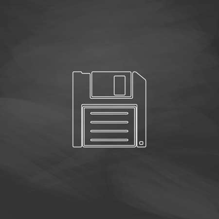 outdated: Floppy disk Simple line vector button. Imitation draw with white chalk on blackboard. Flat Pictogram and School board background. Outine illustration icon Illustration
