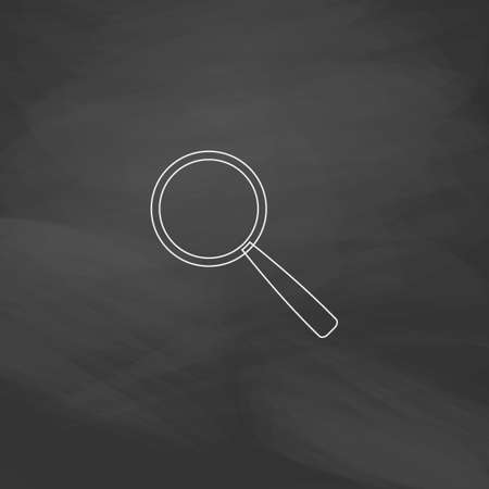 inquire: Magnify Simple line vector button. Imitation draw with white chalk on blackboard. Flat Pictogram and School board background. Outine illustration icon