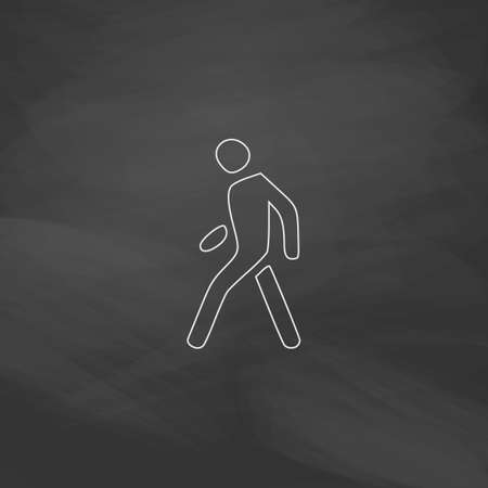 walk board: Walk Man Simple line vector button. Imitation draw with white chalk on blackboard. Flat Pictogram and School board background. Outine illustration icon