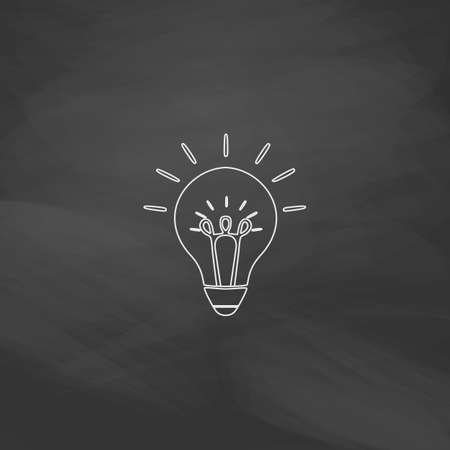 fluorescent lights: Bulb Simple line vector button. Imitation draw with white chalk on blackboard. Flat Pictogram and School board background. Outine illustration icon Illustration