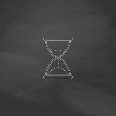 timepieces: hourglass Simple line vector button. Imitation draw with white chalk on blackboard. Flat Pictogram and School board background. Outine illustration icon