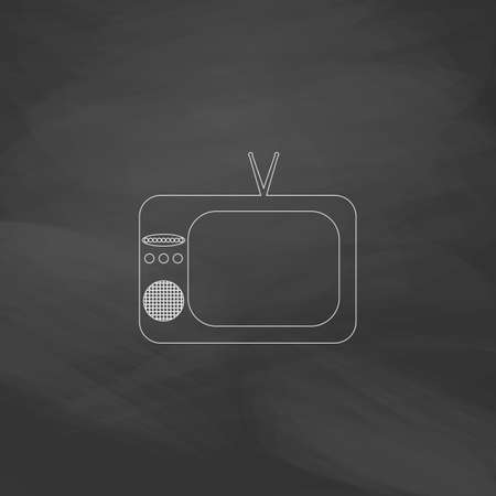 tvset: TV Simple line vector button. Imitation draw with white chalk on blackboard. Flat Pictogram and School board background. Outine illustration icon