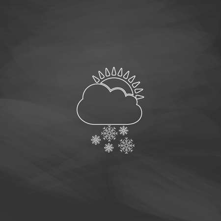 stormy clouds: Cloud snow Simple line vector button. Imitation draw with white chalk on blackboard. Flat Pictogram and School board background. Outine illustration icon