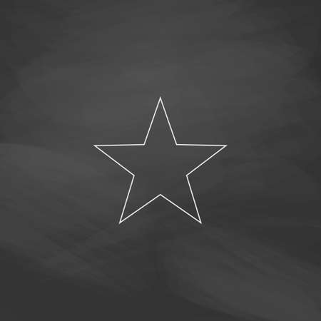 top class: Clasic star Simple line vector button. Imitation draw with white chalk on blackboard. Flat Pictogram and School board background. Outine illustration icon