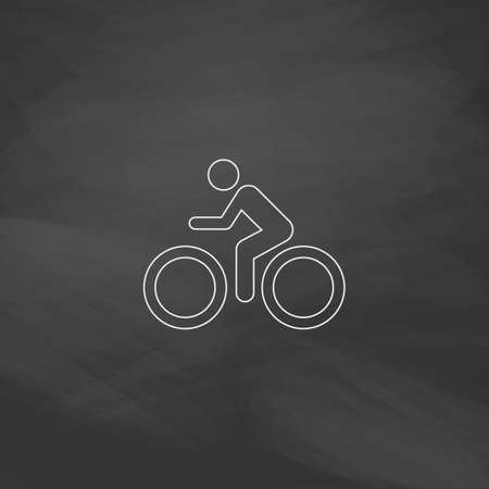 exercising: Cycling Simple line vector button. Imitation draw with white chalk on blackboard. Flat Pictogram and School board background. Outine illustration icon