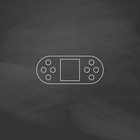 portable console: Game Console Simple line vector button. Imitation draw with white chalk on blackboard. Flat Pictogram and School board background. Outine illustration icon Illustration