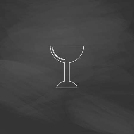 the sacrament: chalice Simple line vector button. Imitation draw with white chalk on blackboard. Flat Pictogram and School board background. Outine illustration icon Illustration