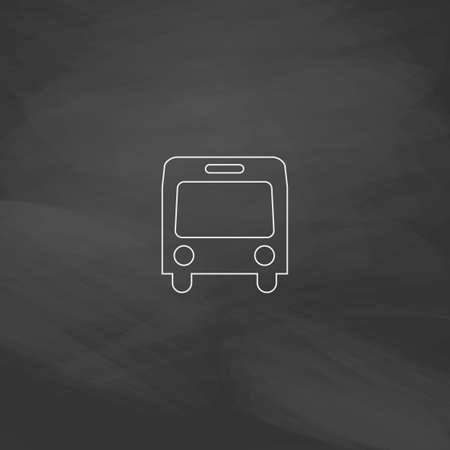 bus parking: autobus Simple line vector button. Imitation draw with white chalk on blackboard. Flat Pictogram and School board background. Outine illustration icon Illustration