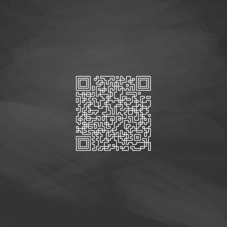 Qr code Simple line vector button. Imitation draw with white chalk on blackboard. Flat Pictogram and School board background. Outine illustration icon