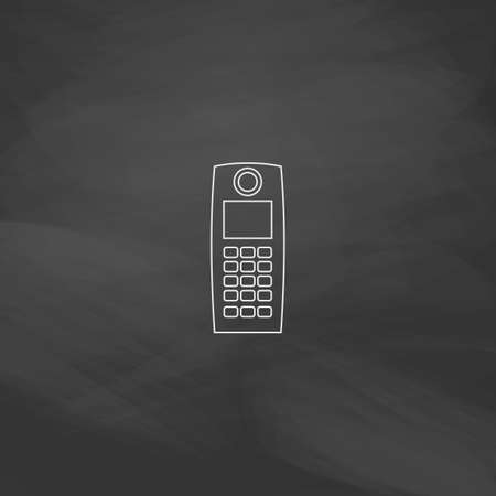 simplex: walkie talkie Simple line vector button. Imitation draw with white chalk on blackboard. Flat Pictogram and School board background. Outine illustration icon