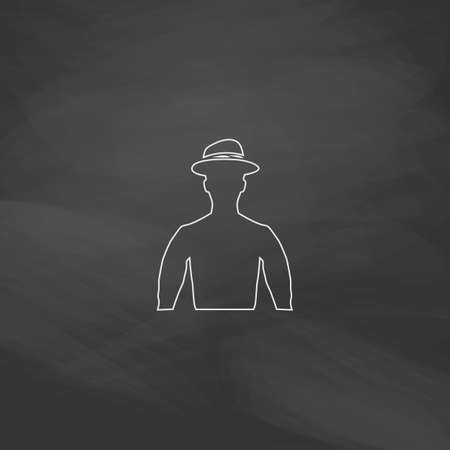 Cowboy Simple line vector button. Imitation draw with white chalk on blackboard. Flat Pictogram and School board background. Outine illustration icon Illustration