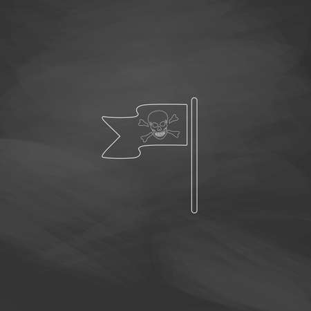 mercenary: Jolly Roger Simple line vector button. Imitation draw with white chalk on blackboard. Flat Pictogram and School board background. Outine illustration icon