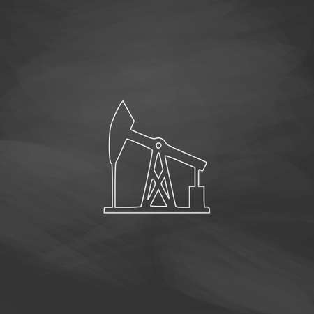 barrell: oil pump Simple line vector button. Imitation draw with white chalk on blackboard. Flat Pictogram and School board background. Outine illustration icon