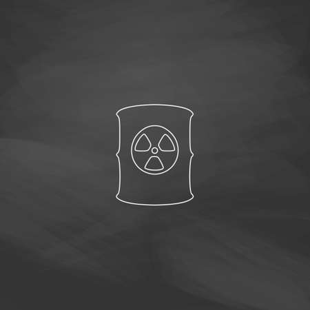 barrels with nuclear waste: Radioactive waste Simple line vector button. Imitation draw with white chalk on blackboard. Flat Pictogram and School board background. Outine illustration icon