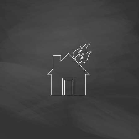house fire: house fire Simple line vector button. Imitation draw with white chalk on blackboard. Flat Pictogram and School board background. Outine illustration icon