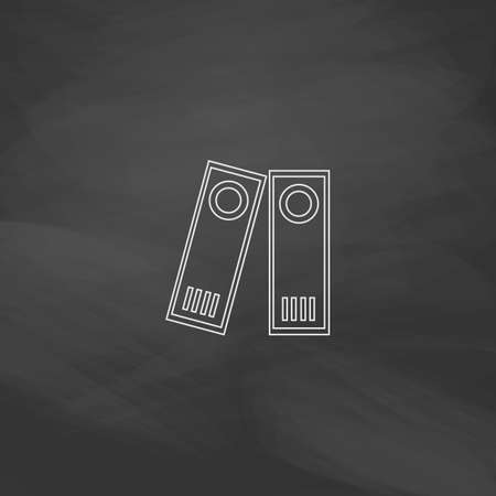 noticeable: Archive Folders Simple line vector button. Imitation draw with white chalk on blackboard. Flat Pictogram and School board background. Outine illustration icon