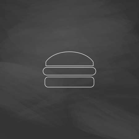 american cuisine: Burger Simple line vector button. Imitation draw with white chalk on blackboard. Flat Pictogram and School board background. Outine illustration icon Illustration
