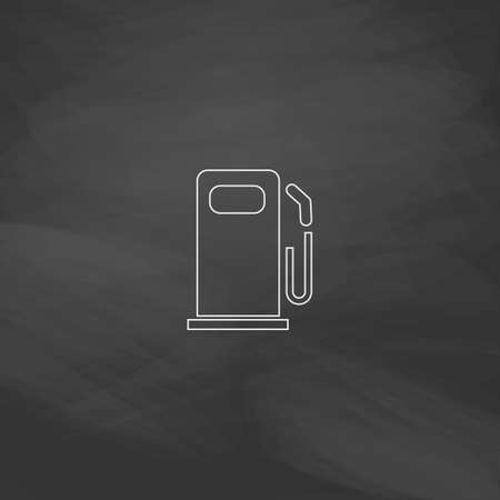 petrol station: petrol station Simple line vector button. Imitation draw with white chalk on blackboard. Flat Pictogram and School board background. Outine illustration icon Illustration