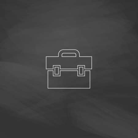 shiny suit: Briefcase Simple line vector button. Imitation draw with white chalk on blackboard. Flat Pictogram and School board background. Outine illustration icon Illustration