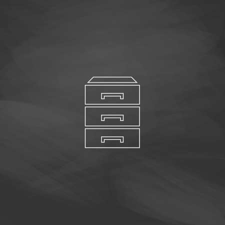 chipboard: drawer Simple line vector button. Imitation draw with white chalk on blackboard. Flat Pictogram and School board background. Outine illustration icon