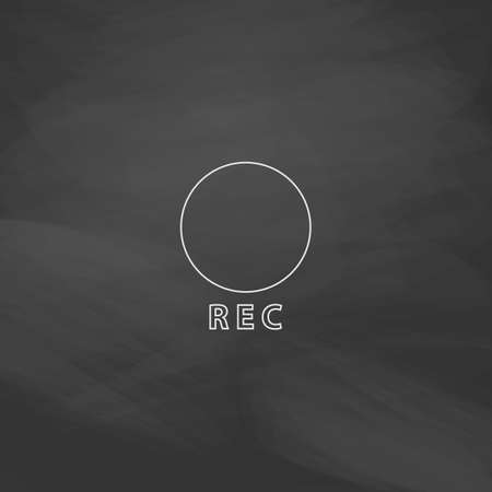 rec: Rec Simple line vector button. Imitation draw with white chalk on blackboard. Flat Pictogram and School board background. Outine illustration icon