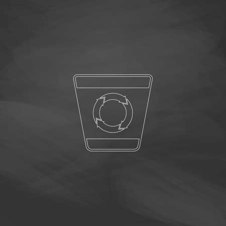 refuse bin: Recycle bin Simple line vector button. Imitation draw with white chalk on blackboard. Flat Pictogram and School board background. Outine illustration icon Illustration