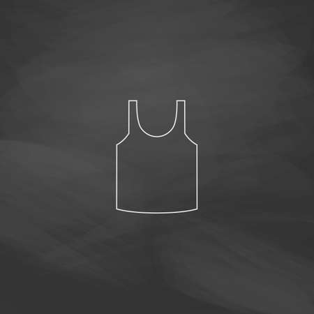 white singlet: singlet Simple line vector button. Imitation draw with white chalk on blackboard. Flat Pictogram and School board background. Outine illustration icon