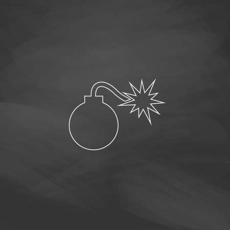 detonation: Bomb Simple line vector button. Imitation draw with white chalk on blackboard. Flat Pictogram and School board background. Outine illustration icon