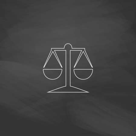 acquittal: Mechanical scales Simple line vector button. Imitation draw with white chalk on blackboard. Flat Pictogram and School board background. Outine illustration icon Illustration