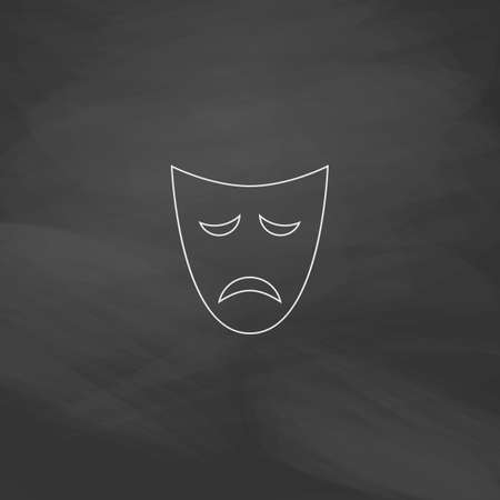 tragedy mask: tragedy mask Simple line vector button. Imitation draw with white chalk on blackboard. Flat Pictogram and School board background. Outine illustration icon Illustration