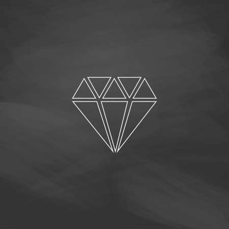 spoil: Diamond Simple line vector button. Imitation draw with white chalk on blackboard. Flat Pictogram and School board background. Outine illustration icon Illustration