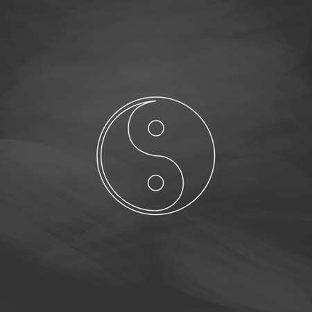 daoism: Ying-yang Simple line vector button. Imitation draw with white chalk on blackboard. Flat Pictogram and School board background. Outine illustration icon