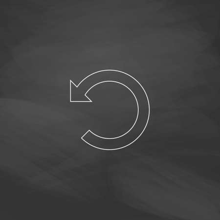 newest: Rotation Arrow Simple line vector button. Imitation draw with white chalk on blackboard. Flat Pictogram and School board background. Outine illustration icon