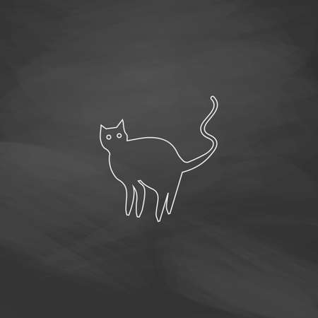 Evil Cat Simple line vector button. Imitation draw with white chalk on blackboard. Flat Pictogram and School board background. Outine illustration icon Illustration