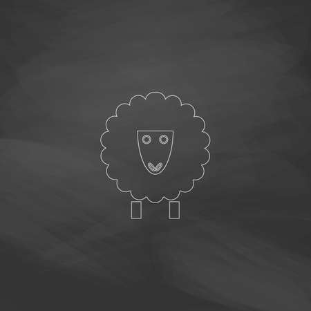ewe: Sheep Simple line vector button. Imitation draw with white chalk on blackboard. Flat Pictogram and School board background. Outine illustration icon