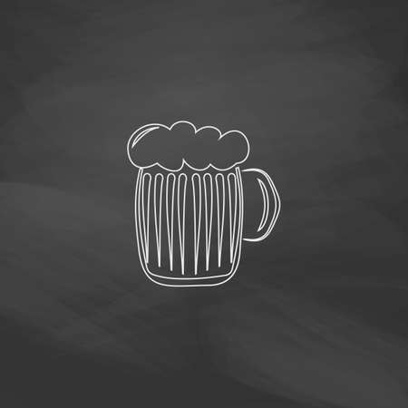 foamy beer Simple line vector button. Imitation draw with white chalk on blackboard. Flat Pictogram and School board background. Outine illustration icon
