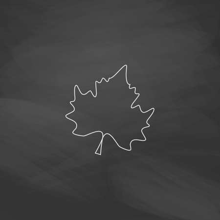 halifax: Maple Leaf Simple line vector button. Imitation draw with white chalk on blackboard. Flat Pictogram and School board background. Outine illustration icon