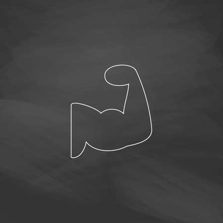 in flexed: Biceps Simple line vector button. Imitation draw with white chalk on blackboard. Flat Pictogram and School board background. Outine illustration icon