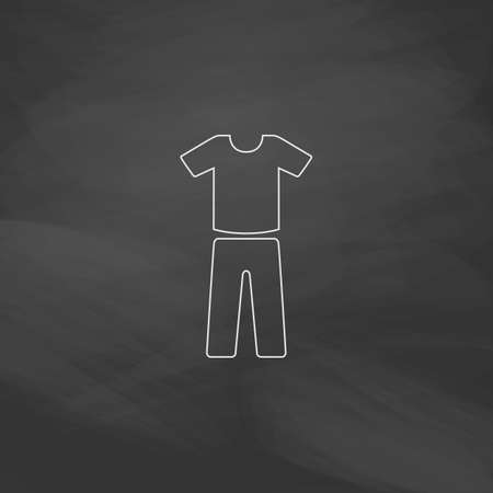 yoga pants: sport suit Simple line vector button. Imitation draw with white chalk on blackboard. Flat Pictogram and School board background. Outine illustration icon