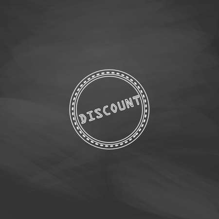 abatement: Discount Simple line vector button. Imitation draw with white chalk on blackboard. Flat Pictogram and School board background. Outine illustration icon