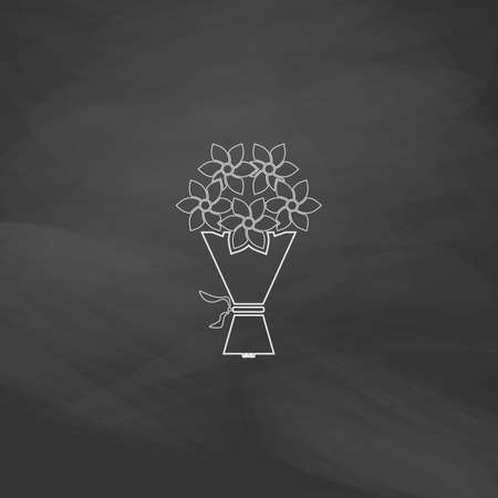 rosebud: bouquet Simple line vector button. Imitation draw with white chalk on blackboard. Flat Pictogram and School board background. Outine illustration icon