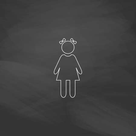 girl Simple line vector button. Imitation draw with white chalk on blackboard. Flat Pictogram and School board background. Outine illustration icon