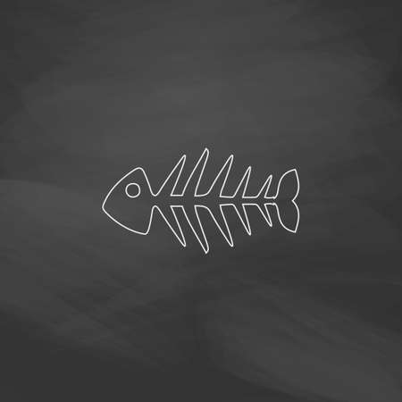 illustration of black fishbone: Fish skeleton Simple line vector button. Imitation draw with white chalk on blackboard. Flat Pictogram and School board background. Outine illustration icon