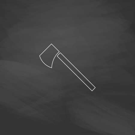 hatchet: hatchet Simple line vector button. Imitation draw with white chalk on blackboard. Flat Pictogram and School board background. Outine illustration icon
