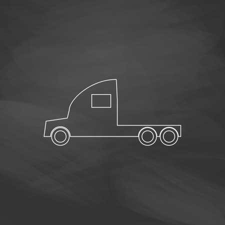 camion de fret bouton vecteur ligne simple. Imitation dessiner à la craie blanche sur le tableau noir. Pictogram Flat and School board background. Outine illustration icône Vecteurs