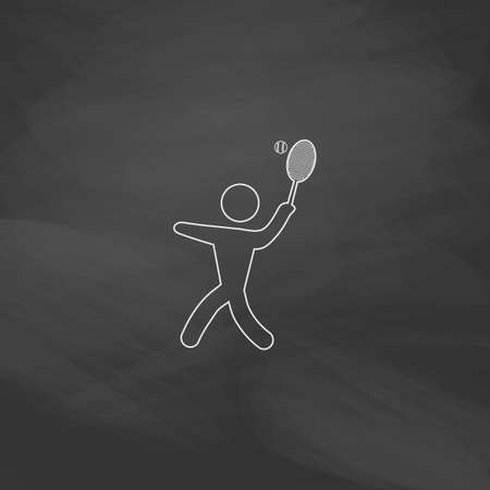 tennis Simple line vector button. Imitation draw with white chalk on blackboard. Flat Pictogram and School board background. Outine illustration icon Illustration