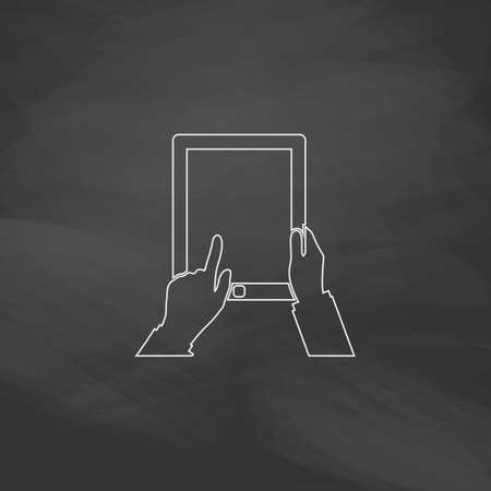 pictogrammes: Tap Tablet Simple line vector button. Imitation draw with white chalk on blackboard. Flat Pictogram and School board background. Outine illustration icon