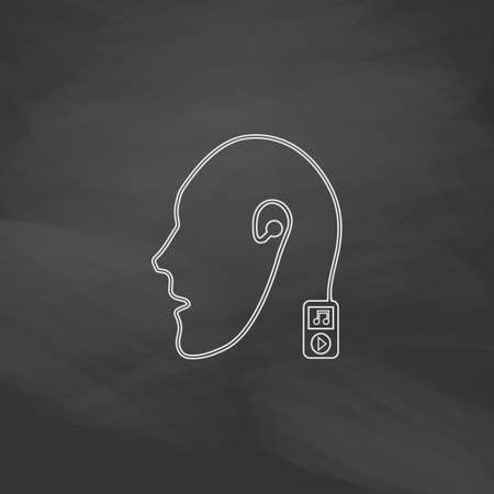 live stream listening: Favorite music Simple line vector button. Imitation draw with white chalk on blackboard. Flat Pictogram and School board background. Outine illustration icon Illustration